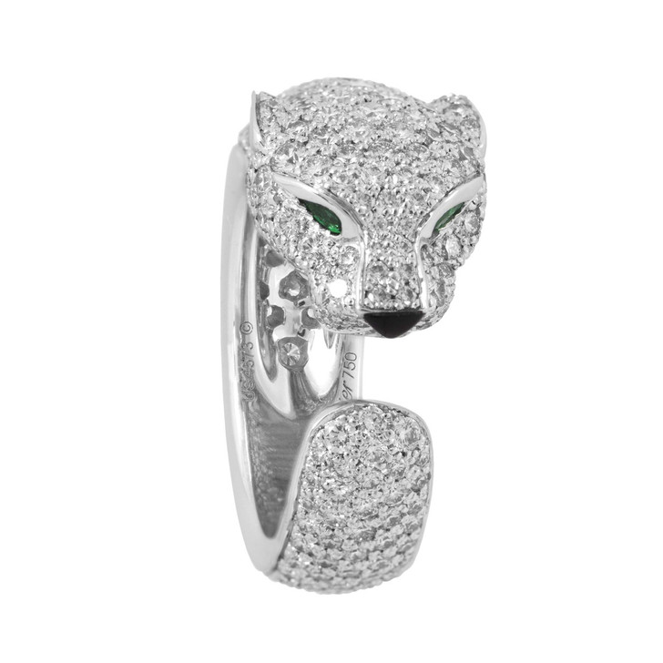 Cartier Panthere de Cartier 18K White Gold, Diamond, Emerald & Onyx Ring