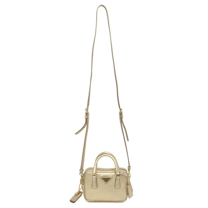 Prada Gold Saffiano Mini Shoulder Bag