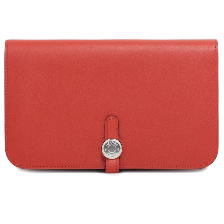 Hermes Vermillion Swift Leather Dogon Duo Wallet