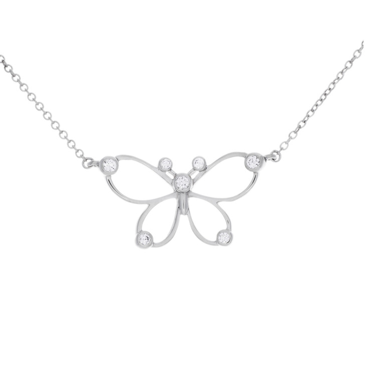 Tiffany & Co. Sterling Silver & Diamond Butterfly Necklace