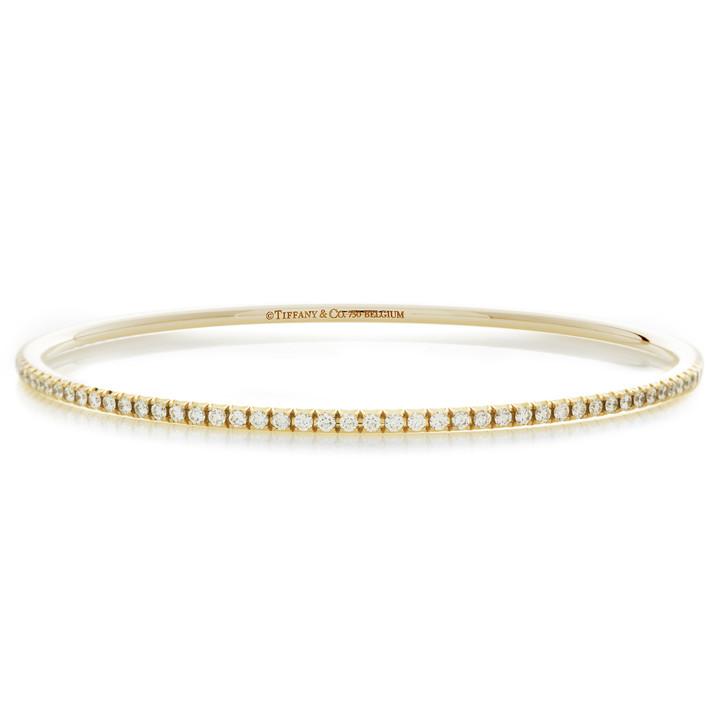 Tiffany & Co. 18K Yellow Gold & Diamond Metro Bangle