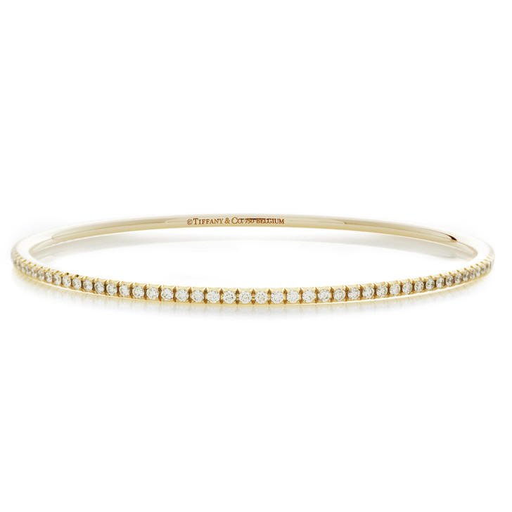Tiffany & Co. 18K Yellow Gold & Diamond Metro Bangle