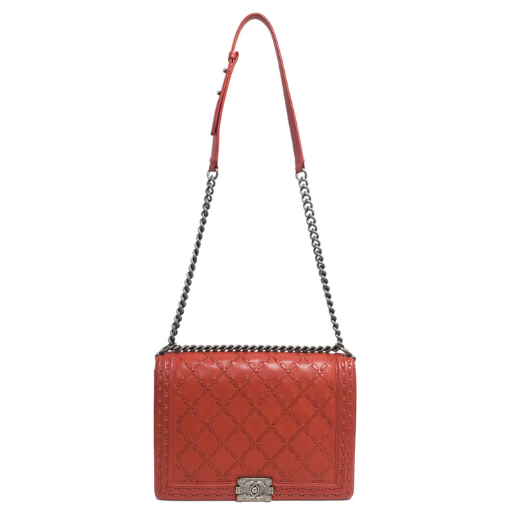 Chanel Orange Large Stitch Caviar Large Boy Bag