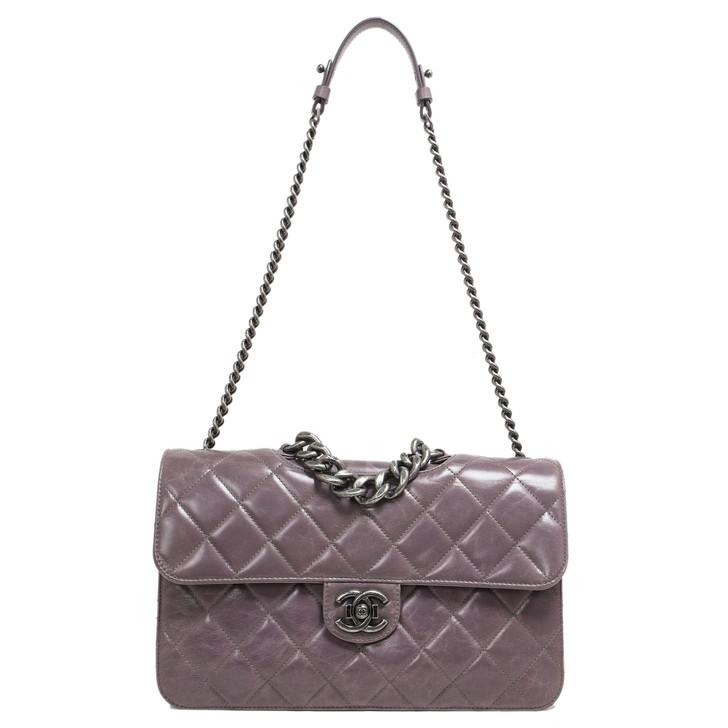 Chanel Purple Quilted Calfskin Medium Perfect Edge Flap