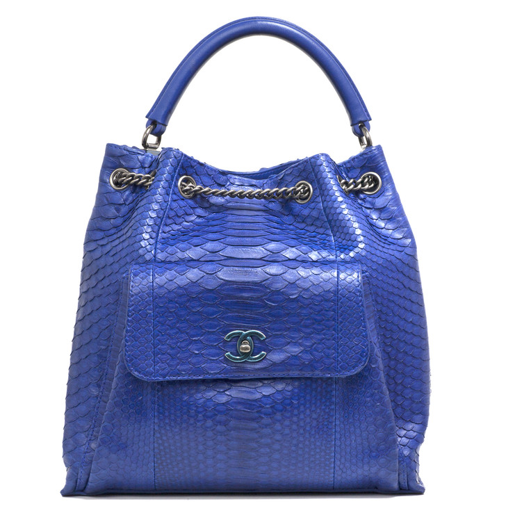 Chanel Blue Python Drawstring Backpack