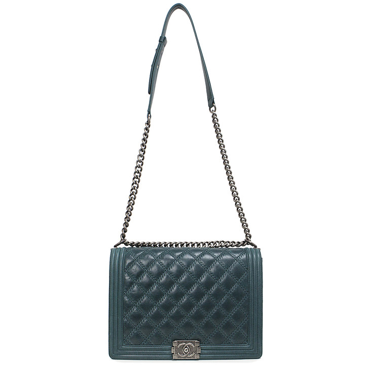 Chanel Teal Aged Calfskin Double Stitch Large Boy  Bag