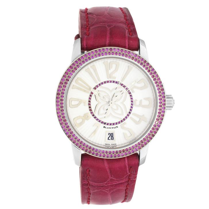 Blancpain 18K White Gold & Ruby Ultra-Slim Ladies Watch 3300-35A28-99B