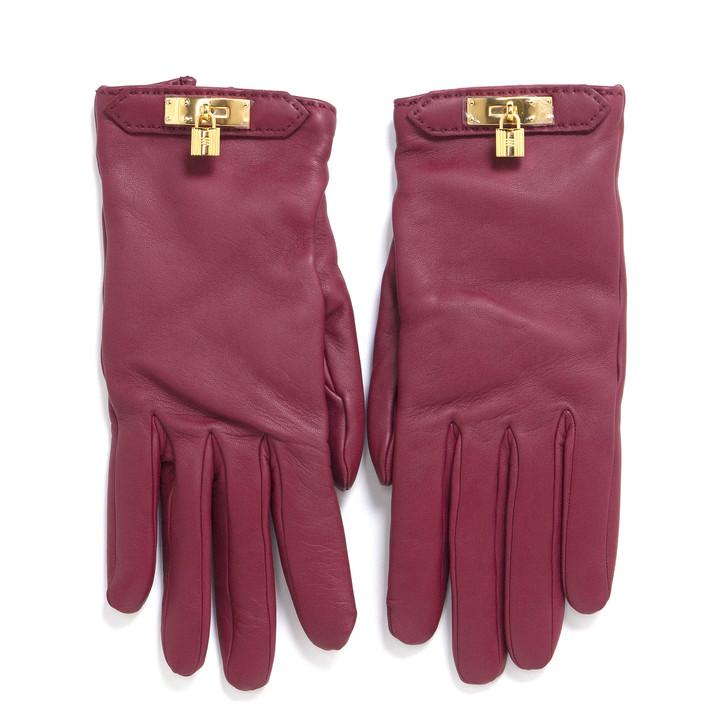 Hermes Rouge Lambskin Soya Gloves