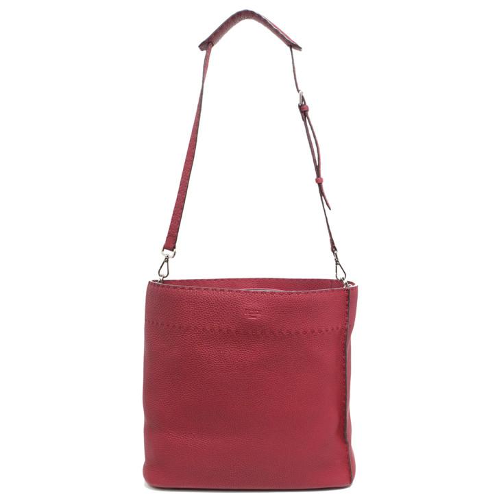 Fendi Red Calfskin Selleria Anna Bucket Bag