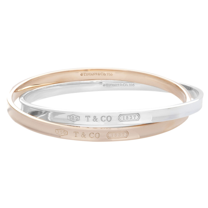 Tiffany & Co. 18K Rose Gold & Sterling Silver Interlocking Circles Bangle