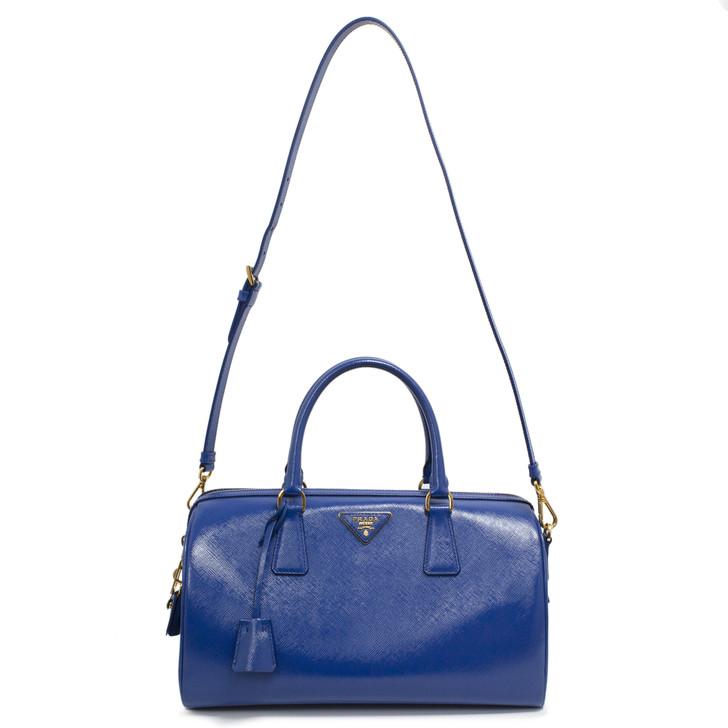 Prada Azzurro Saffiano Vernice Boston Bag