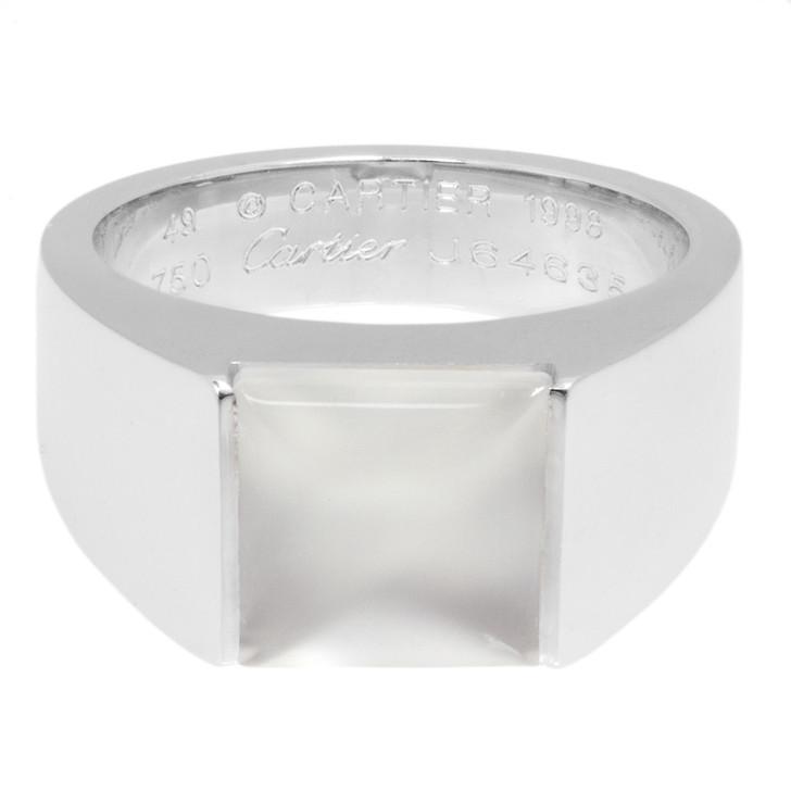 Cartier 18K White Gold Tank Moonstone Ring