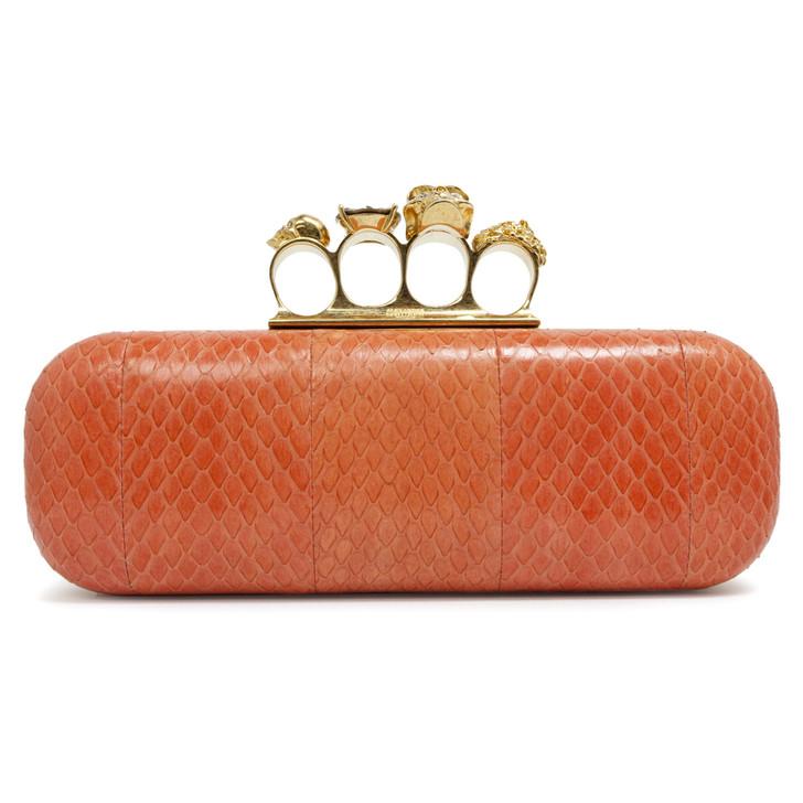 Alexander  McQueen Orange Python Knuckle Box Clutch