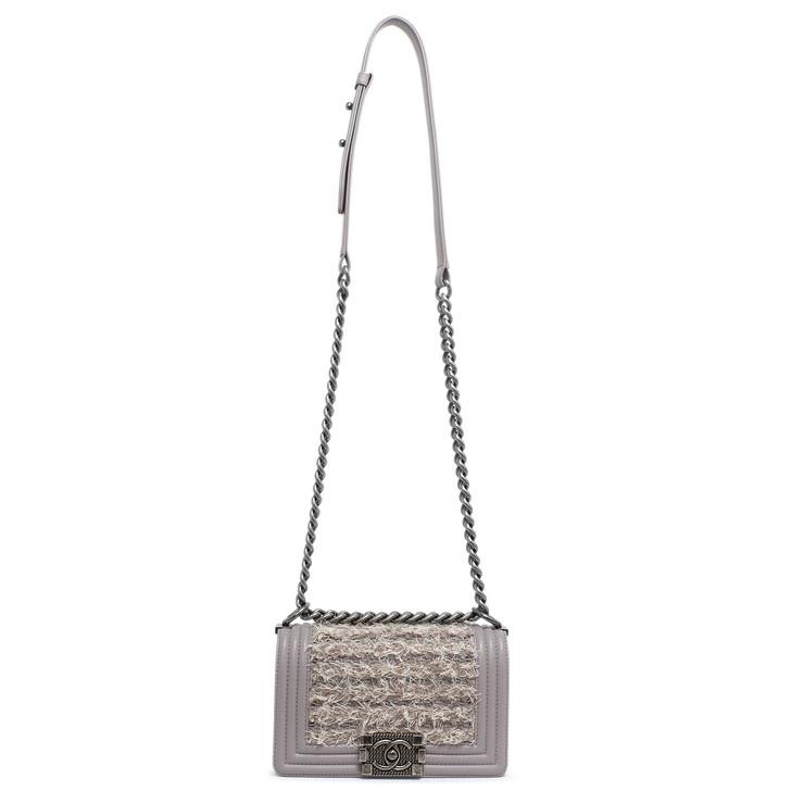Chanel Mauve Lambskin & Tweed Small Boy Bag