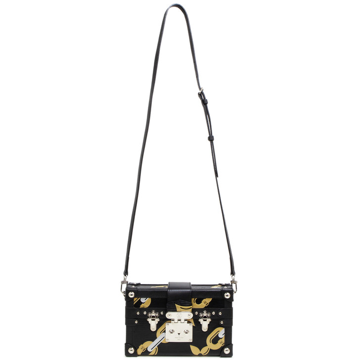 Louis Vuitton Black Epi Chain Flower Petite Malle