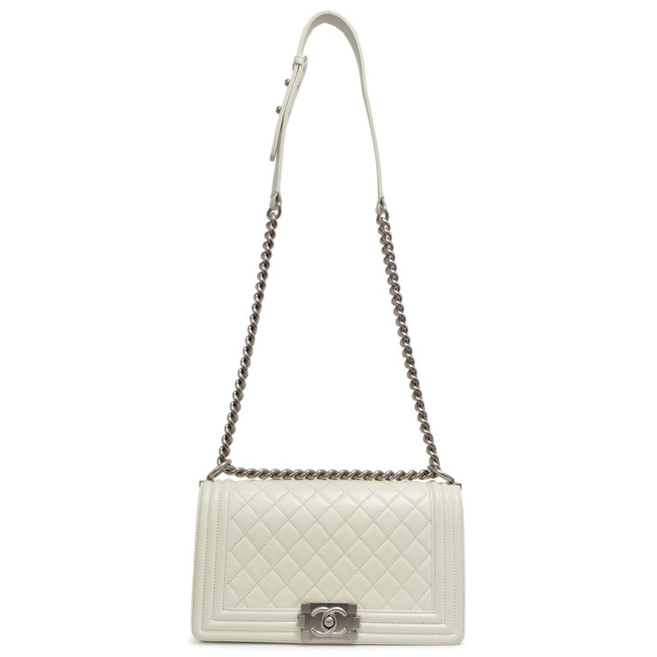 Chanel White Calfskin Medium Boy Bag