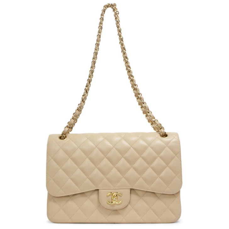 Chanel Beige Quilted Caviar Jumbo Classic Double  Flap