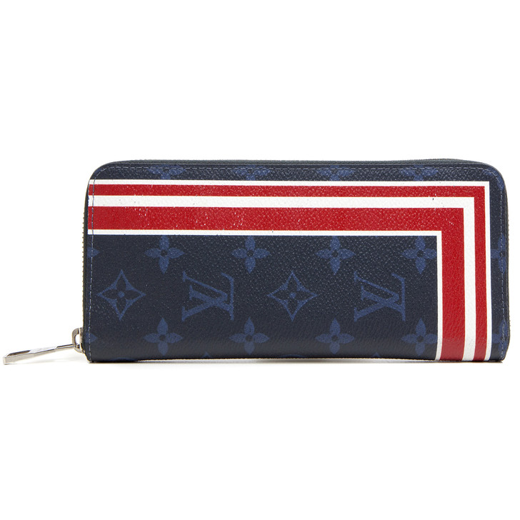 Louis Vuitton Monogram Cobalt Red Stripes Zippy Vertical Wallet