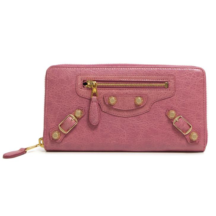 Balenciaga Rose Bonbon Lambskin Giant 12 Continental Zip Around Wallet