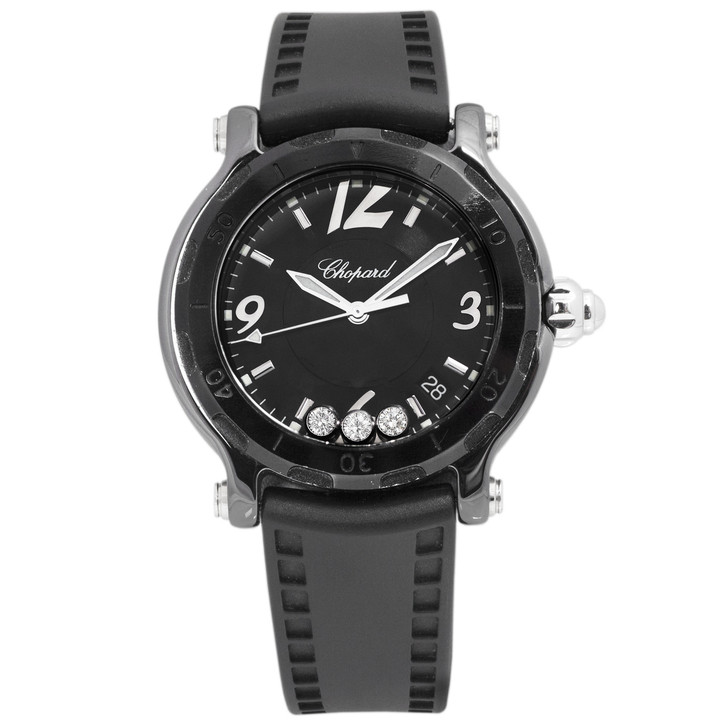 Chopard Black Ceramic Happy Sport Diamond Watch 28/8507