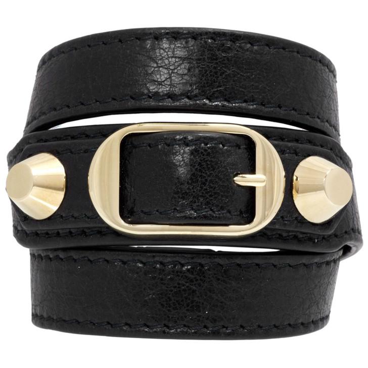 Balenciaga Black Lambskin Triple Tour Bracelet