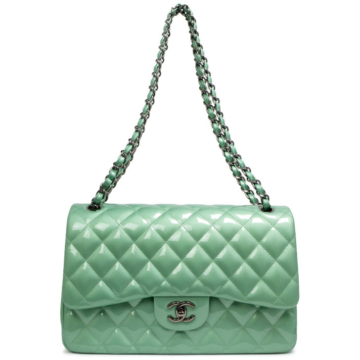 Chanel Green Quilted Patent Leather Jumbo Classic Double  Flap