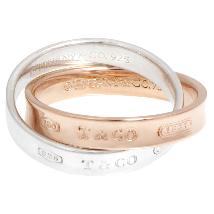 Tiffany & Co. 18K Rose Gold & Sterling Silver Interlocking Circles Ring