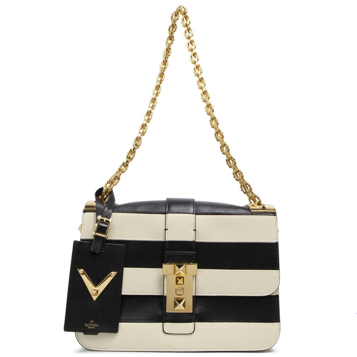 Valentino Black and Ivory Striped B-Rockstud Flap Bag
