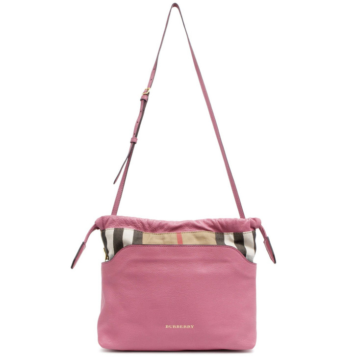 Burberry Pink Leather House Check Little Crush Crossbody