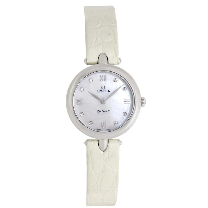 Omega De Ville Prestige Mother of Pearl Diamond Dial Ladies Watch 424.13.27.60.55.001