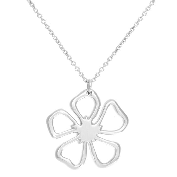Tiffany Sterling Silver Open Flower Pendant Necklace