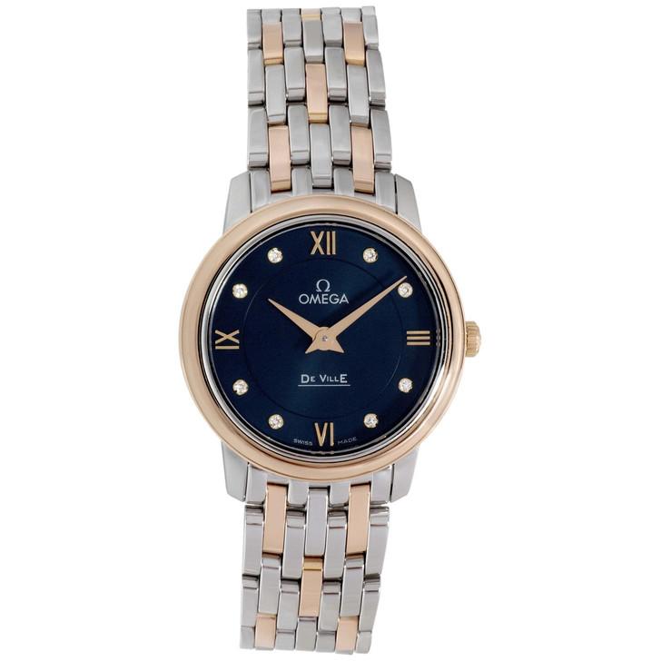 Omega Stainless Steel & 18K Rose Gold De Ville Prestige Quartz Watch 424.20.27.60.53.001