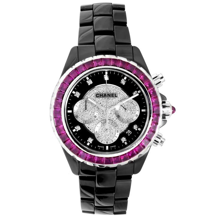 Chanel Black Ceramic, 18K White Gold, Diamond & Ruby J12 Chronograph Automatic Watch H2160