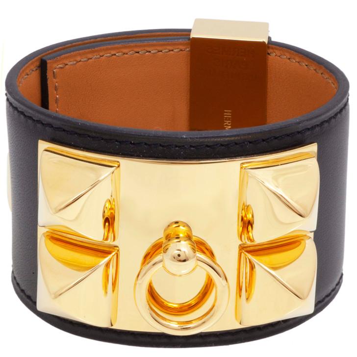 Hermes Black Box Calfskin Collier de Chien Bracelet