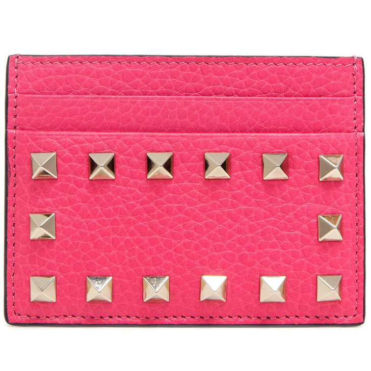 Valentino Pink Grained Calfskin Rockstud Card Holder