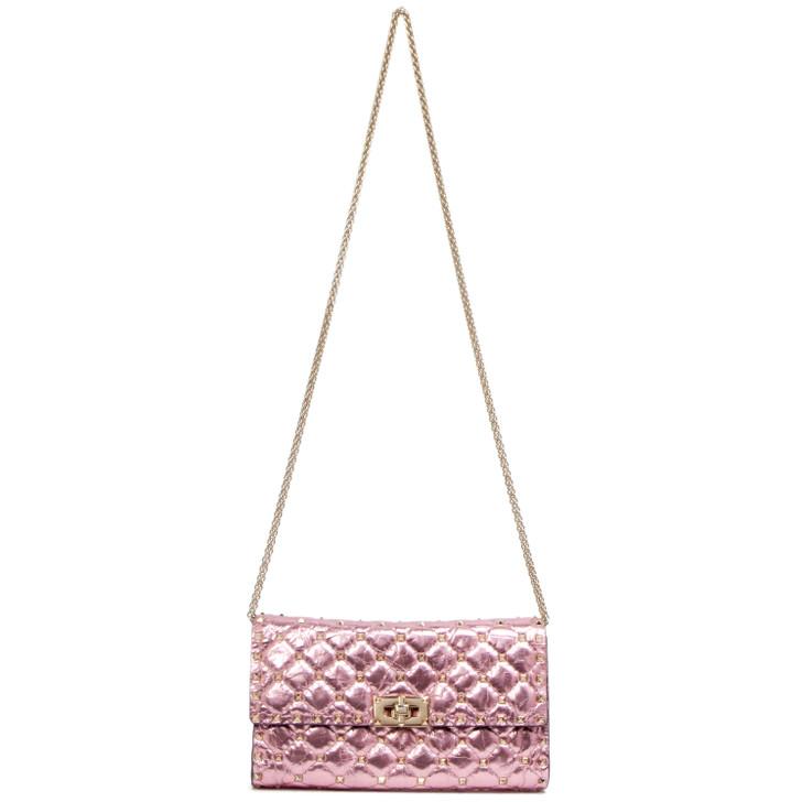 Valentino Pink Metallic Lambskin Rockstud Spike Wallet on Chain