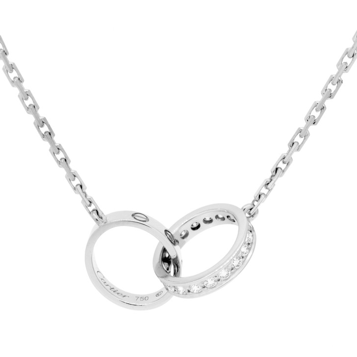 Cartier 18K White Gold & Diamond Love  Necklace