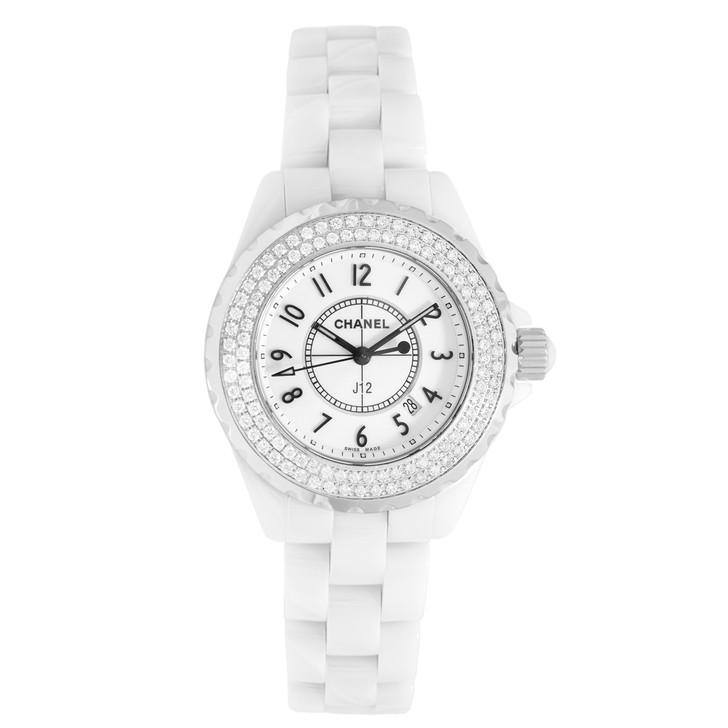 Chanel White Ceramic & Diamond J12 33mm Quartz Watch H0967