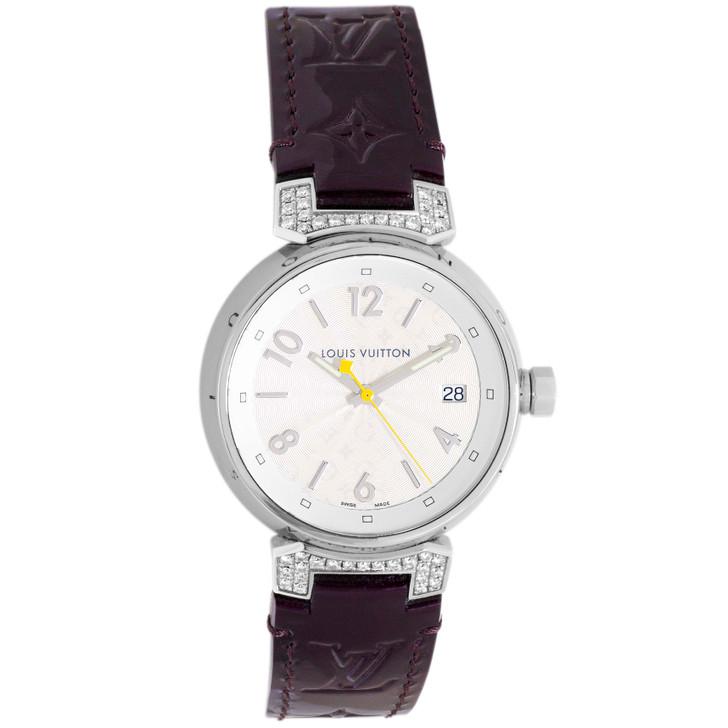 Louis Vuitton Stainless Steel & Diamond Tambour 34mm Quartz Watch Q1310