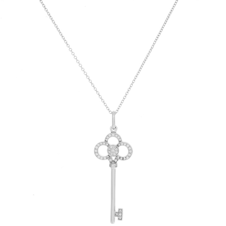 Tiffany & Co. 18K White Gold & Diamond Crown Key Pendant
