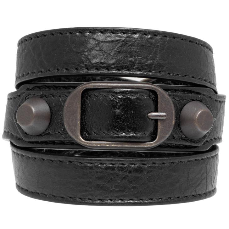 Balenciaga Black Lambskin Classic Triple Tour Bracelet