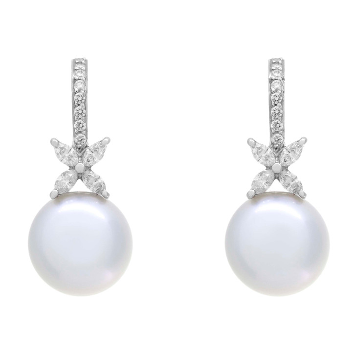 Tiffany & Co. Platinum, Pearl & Diamond Victoria Earrings