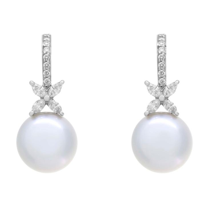 Tiffany & Co. Platinum, Pearl & Diamond Victoria Earrings