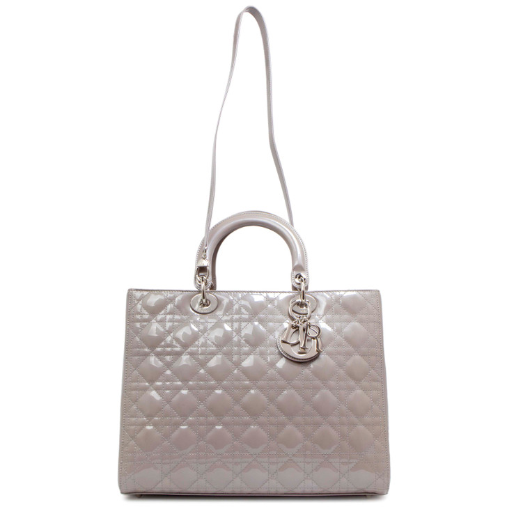 Christian Dior Grey Cannage Patent Large Lady Dior