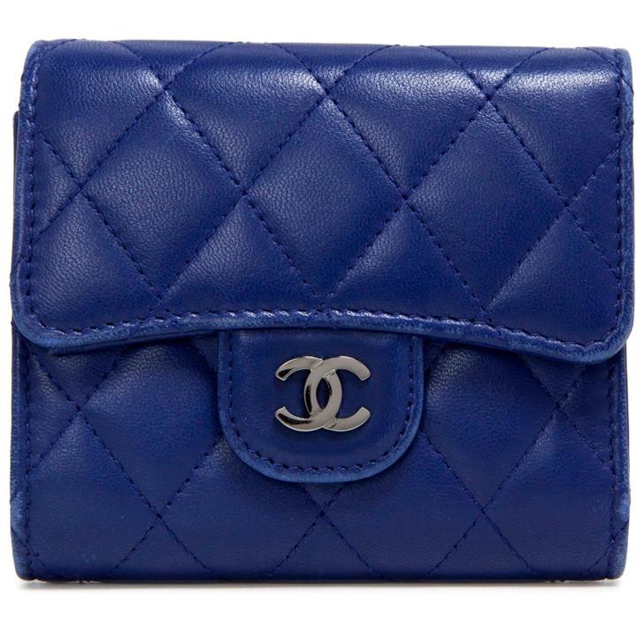 Chanel Blue Lambskin Classic Small Flap Wallet