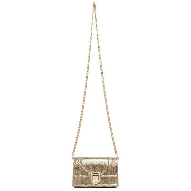 Christian Dior Champagne Metallic Calfskin Baby Diorama