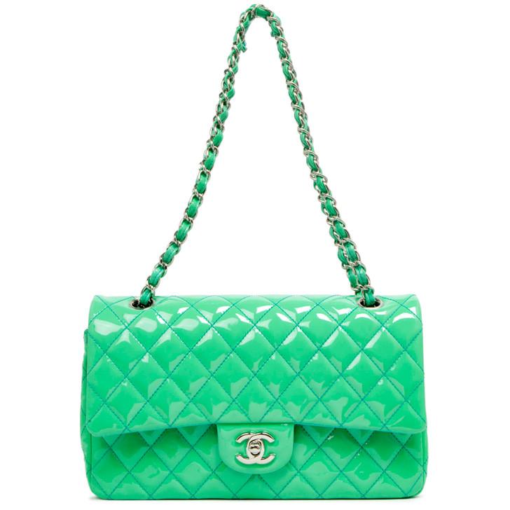 Chanel Mint Green Patent Medium Classic Double Flap