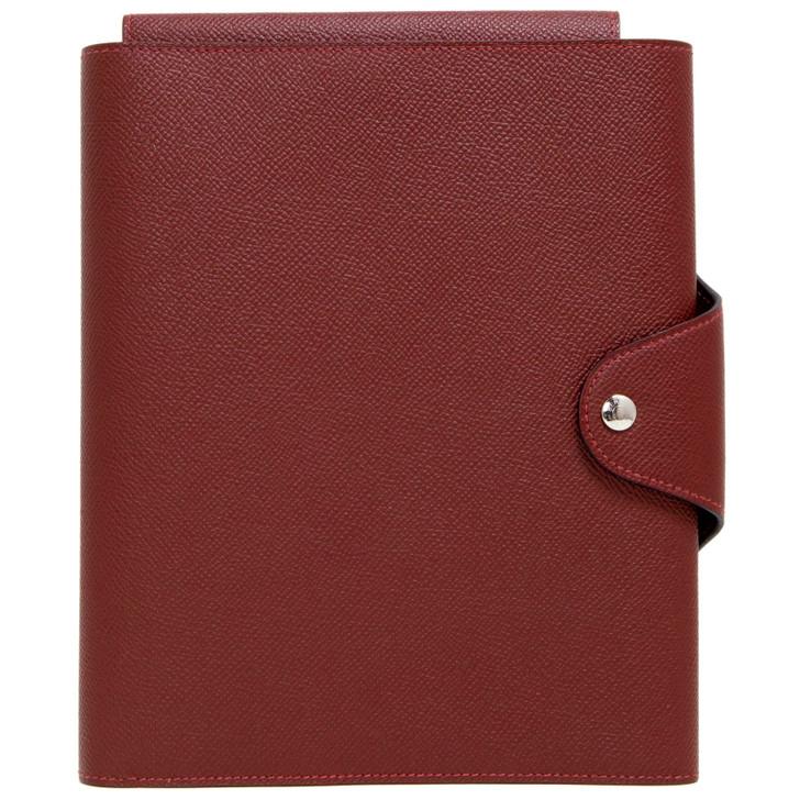 Hermes Burgundy Epsom Organizer/Notebook Cover