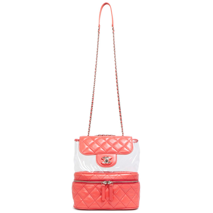 Chanel Pink Crumpled Calfskin & PVC Flap Bag