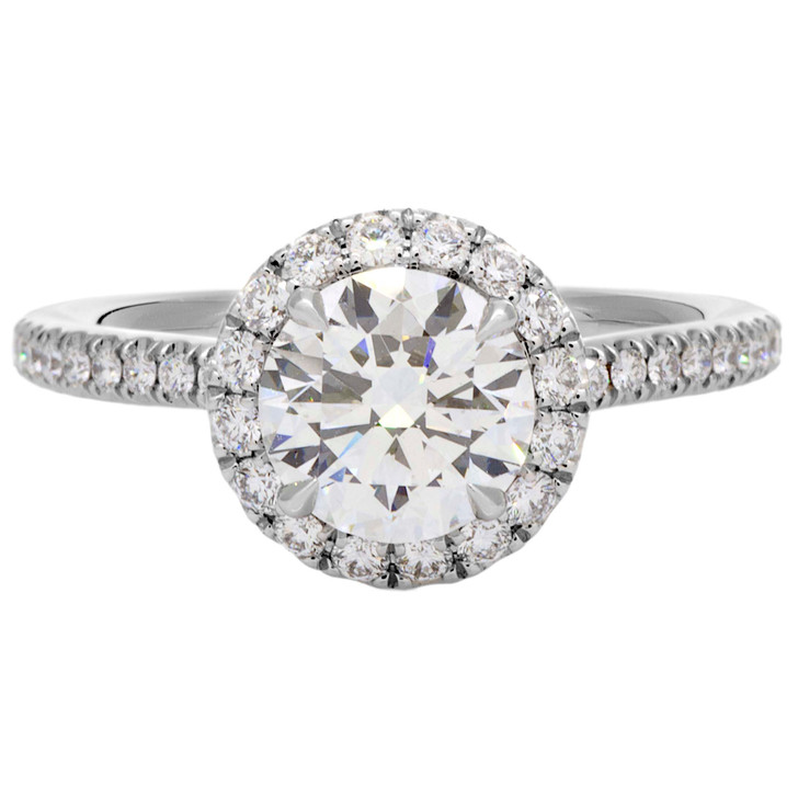 """Harry Winston """"The One"""" 950 Platinum Diamond Micropave Engagement Ring"""